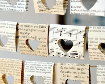 Chair signs, Paper Garland, Book themed party, Vintage wedding decor, Je t'aime, Spring wedding, Music wedding, French vintage