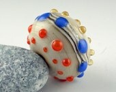 Lampwork Glass Bead, Handmade lampwork focal bead, artist lampwork, bead pendant, bead jewelry supplies, glass focal bead, Sea Hedgehog