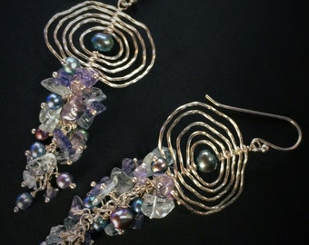 Shoulder dusters Ripples on the Water Pearl Earrings with Aquamarine and Iolite