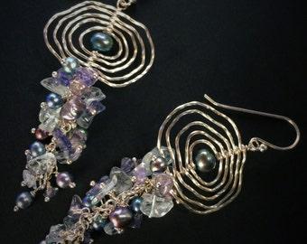 Waterfall, Pearl Earrings, Aquamarine, Iolite, Zen Jewelry, Gratitude Jewelry, Shoulder Dusters, Ripples on the Water
