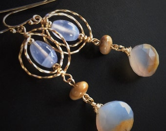Serenity Blue Chalcedony Earrings with gold spirals and banded jasper