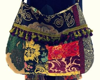 Large boho velvet carpet bag