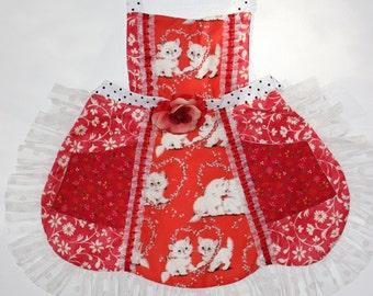 Love Kitties Apron, toddler apron, girls apron