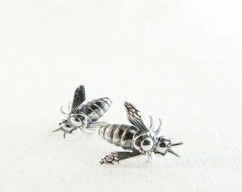 Bee earrings, Sterling Silver, small studs, honey bee jewelry