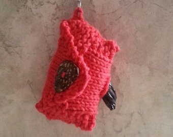 Dog Poop Bag Dispenser Knit Cotton Poop Bag Holder Red Color Handknit Cotton Knit Fabric Coconut Button Carabiner Clasp 1 or 2 Roll Holder