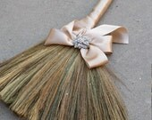 Wedding broom with bow and brooch