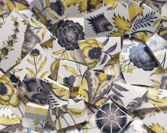 Mosaic Tiles--Ebony--Yellow  gray 65 Tiles