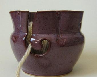 Handmade Knitting Bowl Yarn Bowl in purple
