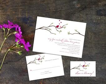 Love Birds Wedding Invitation Set, Wedding invitations, Wedding response, Digital File Download, Birds in a tree Invites, Simple Wedding