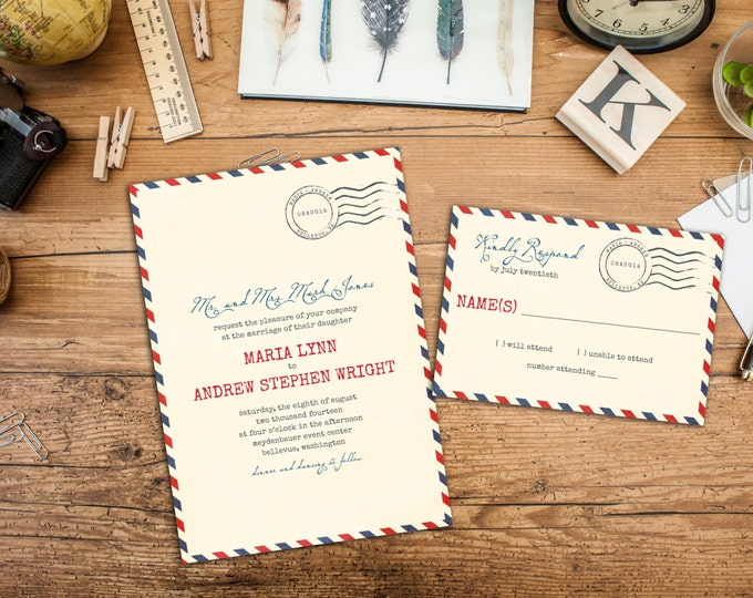Vintage Airmail Wedding Invitation Set, Overseas Wedding, Wedding response cards, Thank you cards, Casual Wedding, Destination Wedding