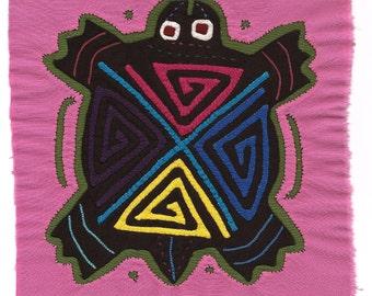 "Hand Sewn ""4 Direction"" Sea Turtle Mola/Molita  - Kuna Indian Reverse Applique"
