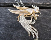 Bird of Paradise Necklace - huge vintage repurposed 1920's rhinestone bird pendant on silver metal necklace - Free Shipping to USA