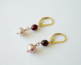 "mauve and cherry pearl gold dangle earrings - 1-1/4"" long - June birthstone"