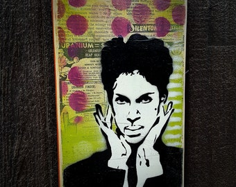 Prince Graffiti Painting on Canvas Pop Art Style Original Artwork Stencil Urban Street Purple Rain