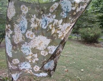 Large Vintage Silk Chiffon Scarf - Dark Floral by Echo - Teal Brown