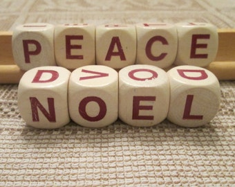 Twenty Five Wooden Letter Cubes For Crafting - White and Burgundy
