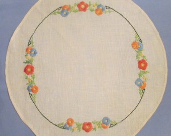 Vintage Linen Hand Embroidered Round Doily - Multi Floral