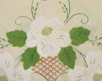 Vintage Round Printed Tablecloth - Natural Muslin Spring Floral
