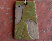 Moss Green and Brown Rustic Bird Pendant 2