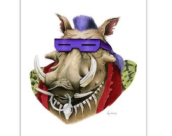 Be-Bop Print - TNMT - Warthog art - Ninja Turtles - Pop Culture Art - Animal Portrait - Limited Edtion Print by Ryan Berkley