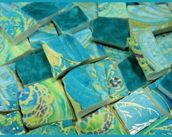 Mosaic Tiles - TEAL PAiSLeY MiX - China Mosaic Tiles