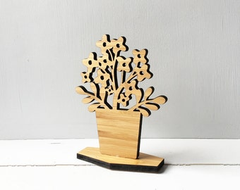 Wooden House Plant, Kalanchoe, mothers day, shelf ornament, nature inspired