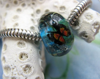 BHB Monarch Butterfly Blue Green big hole bead