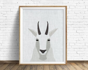 Mountain Goat - art print, large art, mid century modern wall art, art for kids, nursery decor, nursery wall art, woodland nursery, prints