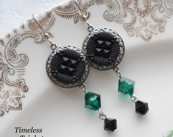 Antique Glass Button Earrings- Black Geometric Design with Emerald Green Swarovski Crystal