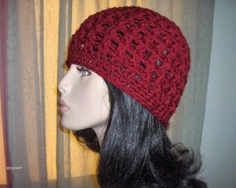 BIG HAT SALE Crochet Hat Womens Cranberry Red Color Hat Crochet Accessories Hat Womens Slouchy Tam Beret Crochet Hat