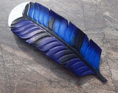 Leather Blue Jay Feather Barrette