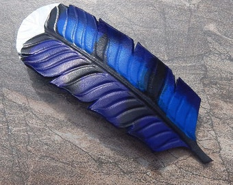 Leather Barrette, Long Hair Gift, Blue Jay Feather with French Clip, Hair Accessory, Gift for Her