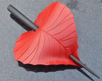 Leather Hair Slide - Red Birch Leaf Barrette Hairstick Or Shawl Pin