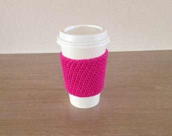 Crochet cup cozy, coffee cup sleeve, reusable coffee sleeve, coffee cup cozy in hot pink