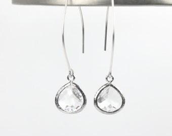 Long Clear Sterling Silver Marquis Earrings, Dangle Earrings, Bridesmaid Earrings, Wedding Jewelry, Crystal Silver Earrings
