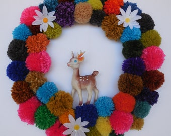 Pom Pom Wreath with Cute Woodland Creature