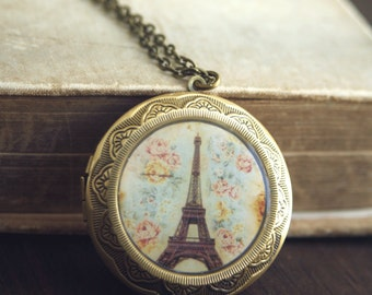 Eiffel Tower Locket Necklace, Long Locket Necklace, Paris Necklace, Long Necklace, Large Locket Necklace, Long Chain, Travel Gift