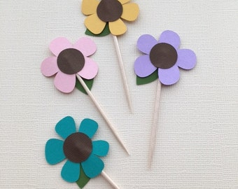 Fun Daisy Cupcake Topper/Party Picks - Set of 12