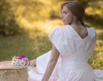 Vintage Pink Romantic Picnic Day Dress (Size Medium)