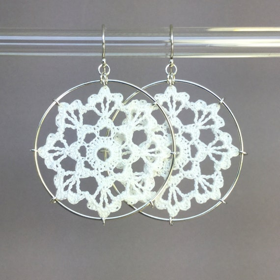 Scallops doily earrings, white silk thread, sterling silver