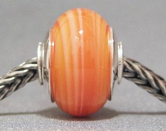 SMALL CORE Handmade Lampwork Euro Charm Bead Tangerine Twister