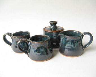 Stoneware Espresso Set Demitasse Cups with Matching Cream and Sugar