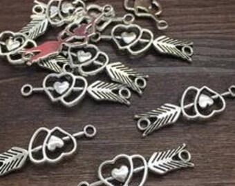Arrow through heart charm Pendants  Love Valentine  jewelry findings supplies (G11)  quantity 6