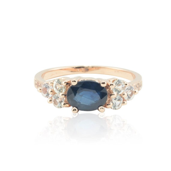 Sapphire Ring, Blue Sapphire and White Sapphire Right Hand Ring in 14kt Rose Gold - September Birthstone - LS508