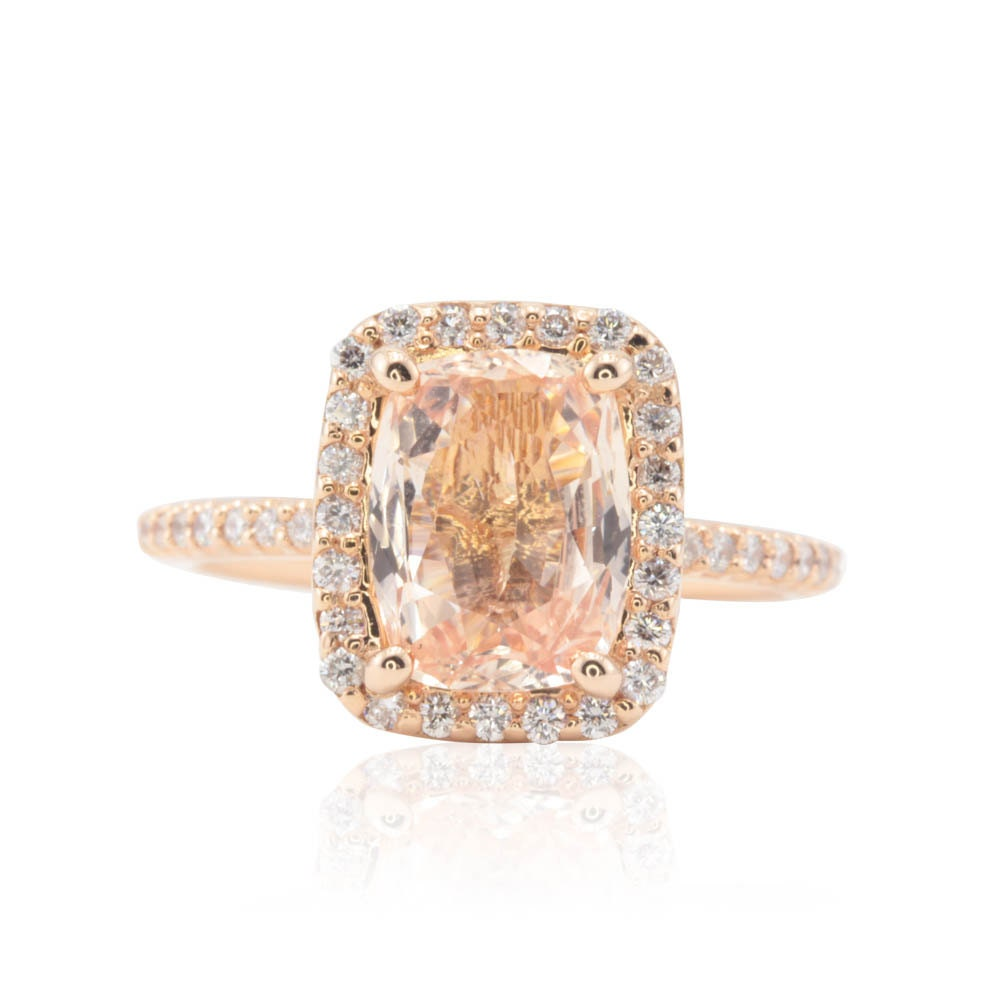 Peach Sapphire Engagement Ring 2 5 Carat Rectangular Cushion