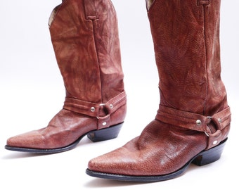 1980s Pointed Toe Western Harness Boots // Burgundy Leather // Mens 10