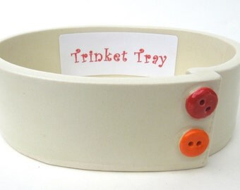 White Red Orange Colorful Painted Button Handmade Ceramic Pottery Trinket Tray Dish