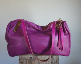 NEW///Oxford Duffle in Magenta Leather Horween Leather Tote Straps
