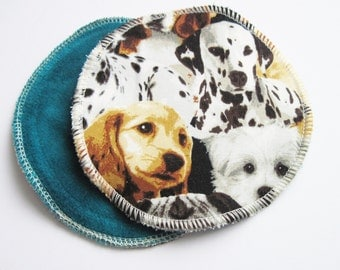 Postpartum Nursing Pads .. Dogs Printed Cotton and Organic Bamboo Velour FREE Shipping