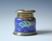 Chinese cloisonne cylindrical cigarette ashtray container/ floral brass ash tray
